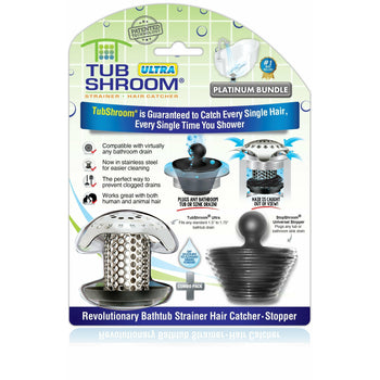 TubShroom® Ultra (Stainless) Plus StopShroom® Plug Combo for Tub Drains - Wholesale Home Improvement Products