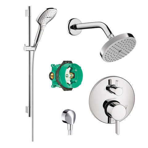 Hansgrohe Kit Rough In iBox, + FixFit Wall,+ S Pressure Balanced Valve +  E120 Hand Shower 3-Jet + 36' Unica S Wall Bar, + 9' Shower Arm And Raindance S 150 AIR Green 1-Jet Showerhead, Chrome - Wholesale Home Improvement Products