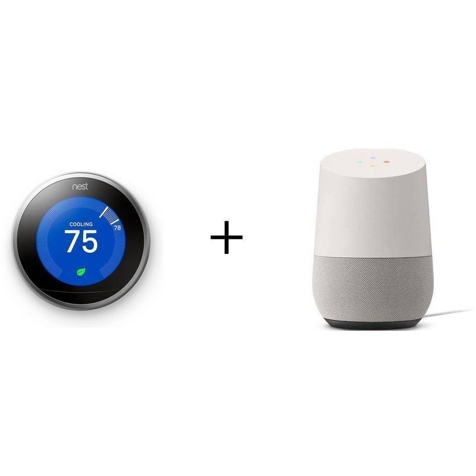 NEST+Google Smarter Bundle: NEST 3rd Gen. Learning Thermostat + Google Home Voice-Activated Speaker