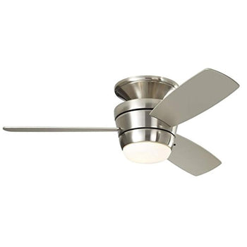 Harbor Breeze Mazon 44-in Brushed Nickel LED Indoor Flush Mount Ceiling Fan with Light Kit and Remote (3-Blade) - Wholesale Home Improvement Products