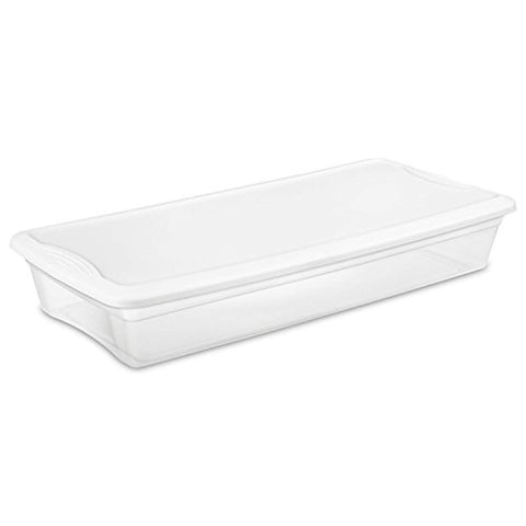Sterilite 19608006 41 Quart/39 Liter Underbed Storage Box, Clear with White Lid, 6-Pack - Wholesale Home Improvement Products