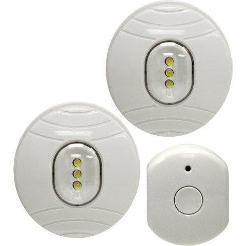 GE - Wireless Remote Control LED Puck Lights White - 2-Pack