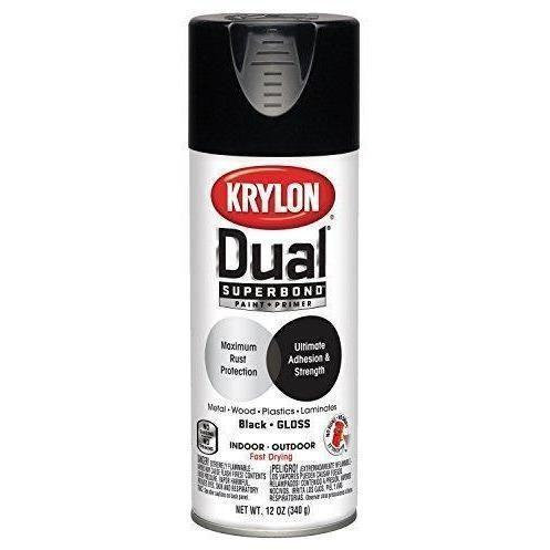 Krylon® 'Dual®' Superbond Paint and Primer, Gloss Black, 12 oz, K08801007