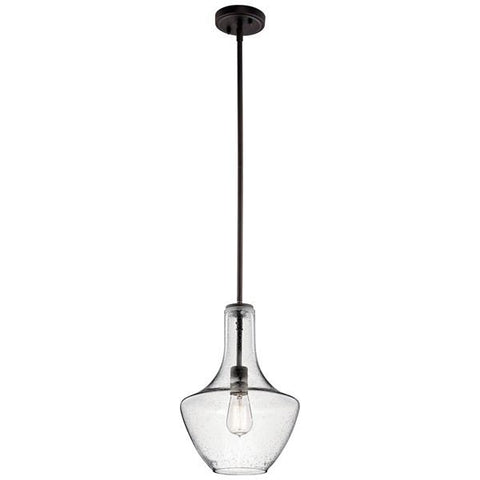 "Kichler - Everly 15.25"" 1 Light Bell Pendant Clear Seeded Glass Olde Bronze - Wholesale Home Improvement Products"