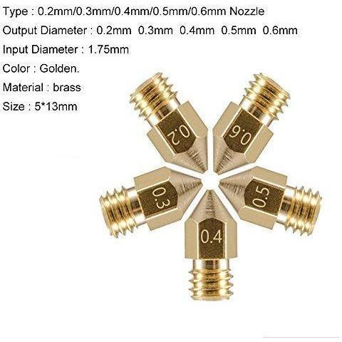 Anet 10pcs MK8 Extruder Nozzle for 3D Printer, 5 Different Size 0.2mm 0.3mm 0.4mm 0.5mm 0.6mm Brass Nozzles Print Head for 1.75mm ABS PLA Filament - Each size 2pcs ( Gold ) - Wholesale Home Improvement Products