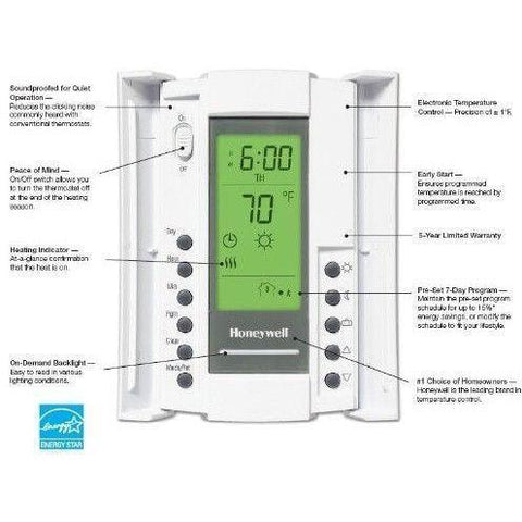 Honeywell - TL8230A1003 7 Day Programmable LineVolt Thermostat 240/208 VAC - Wholesale Home Improvement Products