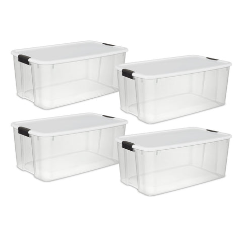 Sterilite 116 Quart/110 Liter Ultra Latch Box, Clear with a White Lid and Black Latches, 4-Pack