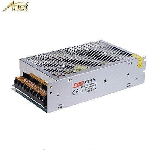 Anet 12V 20A 240W DC Universal Regulated Switching Power Supply for 3D Printer, LED Strip Lights, Radio- Dual-input Centralized Monitoring Adaptor Transformer Power Supply - Wholesale Home Improvement Products