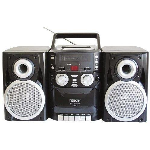 NAXA NPB-426 Electronics Portable Shelf System with CD/Cassette Player, AM/FM Radio and Twin Detachable Speakers