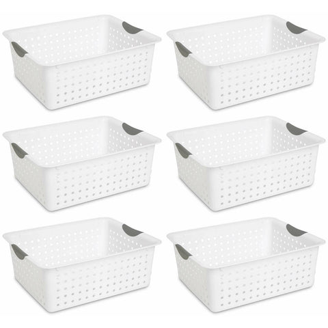 Sterilite 16268006 Large Ultra Basket, White Basket w/ Titanium Inserts, 6-Pack