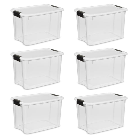 Sterilite 30 Quart/28 Liter Ultra Latch Box, Clear with a White Lid and Black Latches, 6-Pack