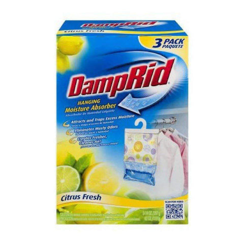 DampRid 773822075241 FG83K Hanging Moisture Absorber Fresh Scent (3 Boxes of 3, Total of 9 Bags), Blue - Wholesale Home Improvement Products