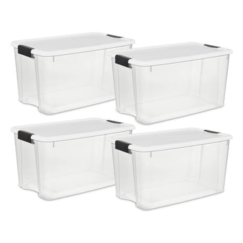 Sterilite 70 Quart/66 Liter Ultra Latch Box, Clear with a White Lid and Black Latches, 4-Pack - Wholesale Home Improvement Products