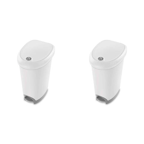 Sterilite 12.6 Gallon Locking StepOn Wastebasket, White Lid & Base w/ Titanium Pedal & Lock, 2-Pack - Wholesale Home Improvement Products