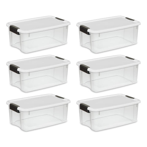 Sterilite 18 Quart/17 Liter Ultra Latch Box, Clear with a White Lid and Black Latches, 6 - Pack