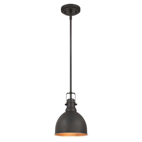 Westinghouse - One-Light Mini Pendant - Hammered Oil Rubbed Bronze Finish