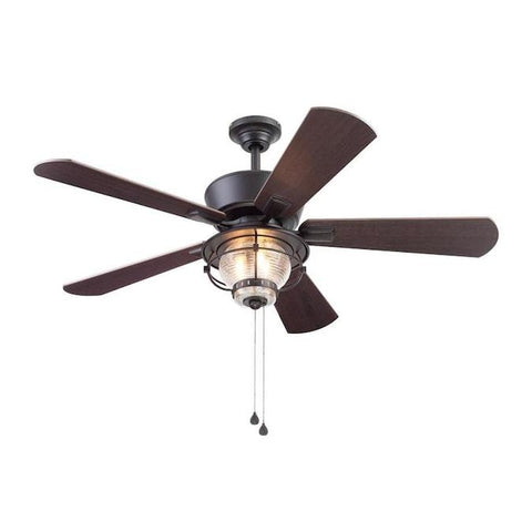 Harbor Breeze Merrimack II 52-in Matte Bronze LED Indoor/Outdoor Ceiling Fan with Light Kit (5-Blade) - Wholesale Home Improvement Products