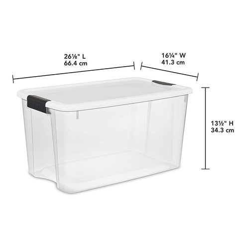 Sterilite 70 Quart/66 Liter Ultra Latch Box, Clear with a White Lid and Black Latches, 4-Pack