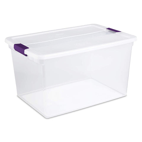 Sterilite 66 Quart/62 Liter ClearView Latch Box, Clear with Sweet Plum Latches, 6-Pack