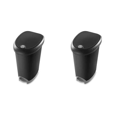 Sterilite 12.6 Gallon Locking StepOn Wastebasket, Black Lid & Base w/ Titanium Pedal & Lock, 2-Pack - Wholesale Home Improvement Products