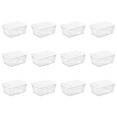 Sterilite 16 Quart/15 Liter Storage Box, White Lid with Clear Base, 12-Pack - Wholesale Home Improvement Products