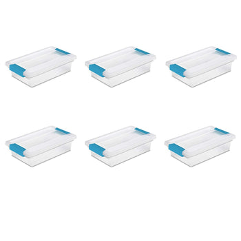 Sterilite Small Clip Box, Clear Lid & Base w/Colored Latches, 6-Pack - Wholesale Home Improvement Products