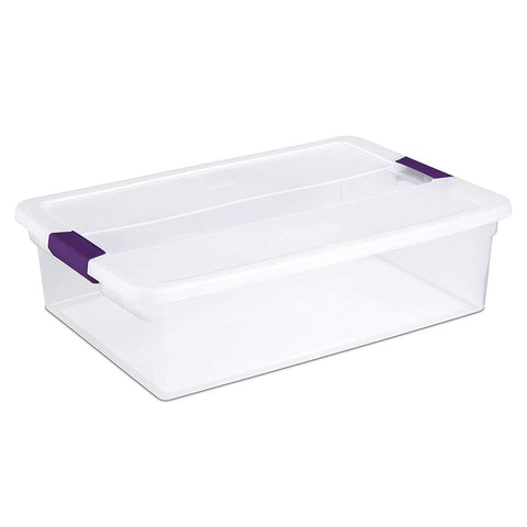 Sterilite 32 Quart/30 Liter ClearView Latch Box, Clear with Sweet Plum Latches, 6-Pack