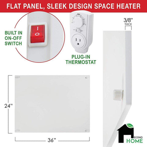 EconoHome - Wall Mount Space Heater Panel Max - 600 Watt Convector Heater - Thermostat & Reflector Included