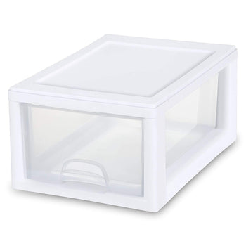 Sterilite 20518006 6 Quart/5.7 Liter Stacking Drawer, White Frame with Clear Drawer - Wholesale Home Improvement Products