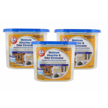 Arm & Hammer Moisture Absorber & Odor Eliminator 14oz Tub, 3 Pack - Eliminates Musty Odors & Freshens Air for Closets, Laundry rooms, Mud Rooms, white - Wholesale Home Improvement Products