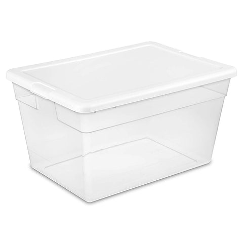 Sterilite 56 Quart/53 Liter Storage Box, White Lid w/ Clear Base, 8-Pack - Wholesale Home Improvement Products