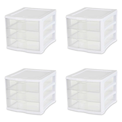 Sterilite 3 Drawer Unit, White Frame with Clear Drawers, 4-Pack - Wholesale Home Improvement Products