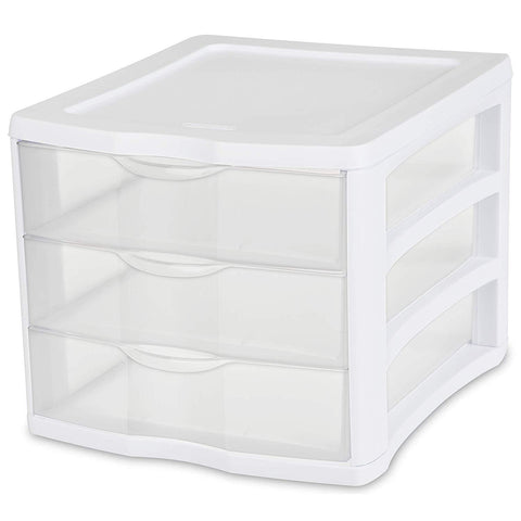 Sterilite 3 Drawer Unit, White Frame with Clear Drawers, 4-Pack