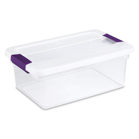 Sterilite 15 Quart/14 Liter ClearView Latch Box, Clear with Sweet Plum Latches, 12-Pack