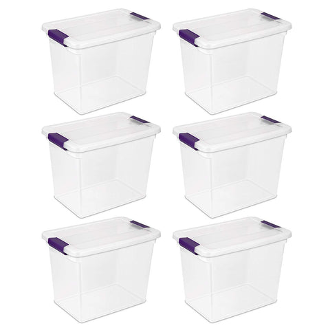 Sterilite 27 Quart/26 Liter ClearView Latch Box, Clear with Sweet Plum Latches, 6-Pack