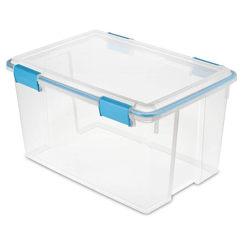 Sterilite 54 Quart/51 Liter Gasket Box, Clear with Blue Aquarium Latches and Gasket, 4-Pack