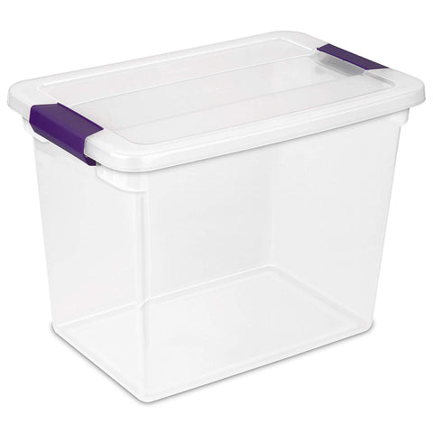 Sterilite 27 Quart/26 Liter ClearView Latch Box, Clear with Sweet Plum Latches, 6-Pack - Wholesale Home Improvement Products