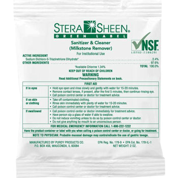 Stera-Sheen Green Label Sanitizer & Cleaner (Milkstone Remover)- Box of 100/2 oz. Packets