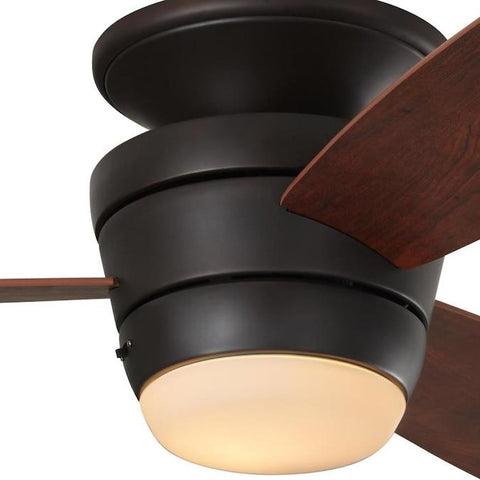 Harbor Breeze Mazon 44-in Oil-rubbed Bronze LED Indoor Flush Mount Ceiling Fan with Light Kit and Remote (3-Blade) - Wholesale Home Improvement Products