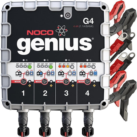 NOCO Genius G4 6V/12V 4.4A 4-Bank UltraSafe Smart Battery Charger - Wholesale Home Improvement Products