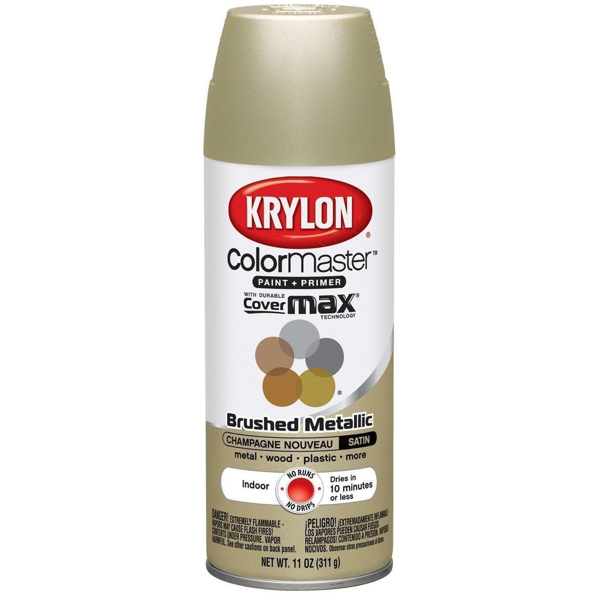 Krylon ColorMaster Brushed Metallic Champagne Nouveau, 11 oz, K05125302