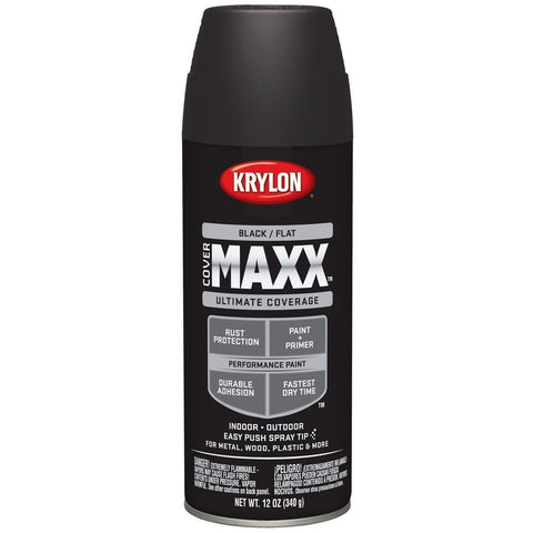 Krylon COVERMAXX Spray Paint, Flat Black, 12 oz, K09147007 - Wholesale Home Improvement Products