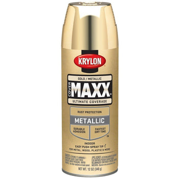 Krylon COVERMAXX Spray Paint, Metallic Gold, 12oz K09194000 - Wholesale Home Improvement Products