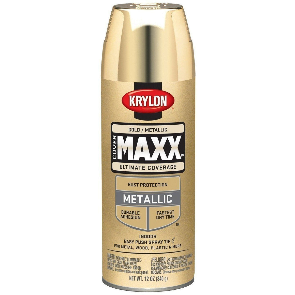 Krylon COVERMAXX Spray Paint, Metallic Gold, 12oz K09194000