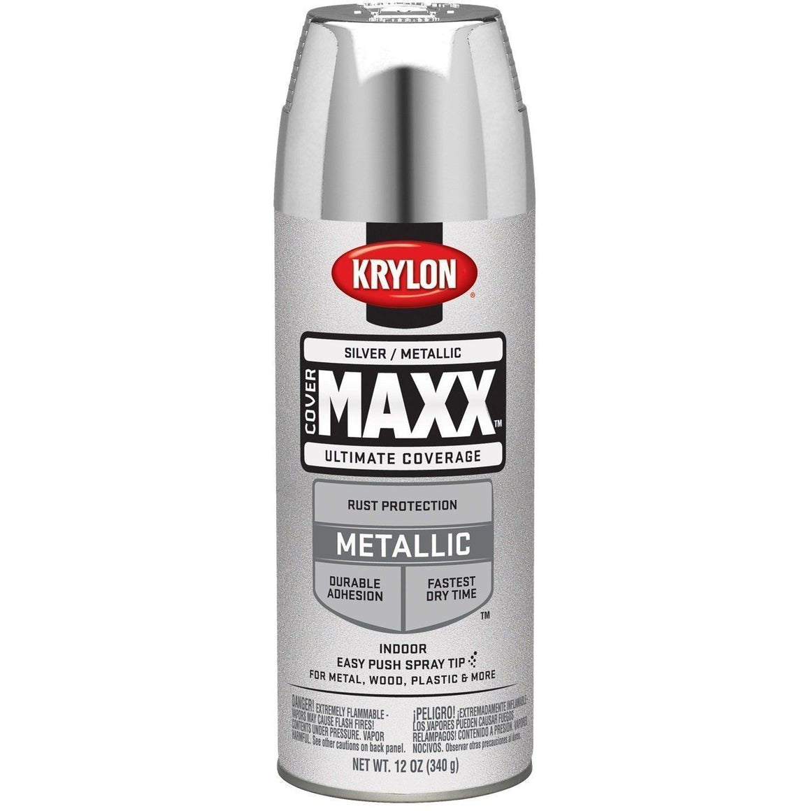 Krylon COVERMAXX Spray Paint, Metallic Silver, 11oz K09196000