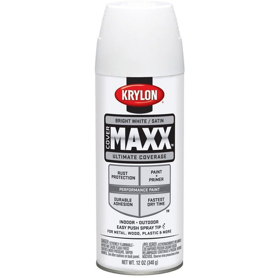 Krylon COVERMAXX Spray Paint, Satin Bright White, 12 oz, K09159007 - Wholesale Home Improvement Products