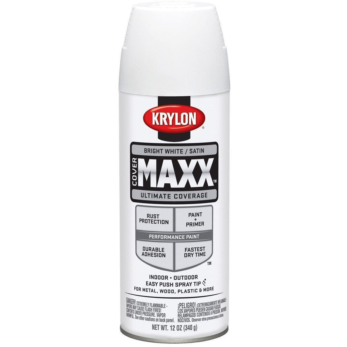 Krylon COVERMAXX Spray Paint, Satin Bright White, 12 oz, K09159007