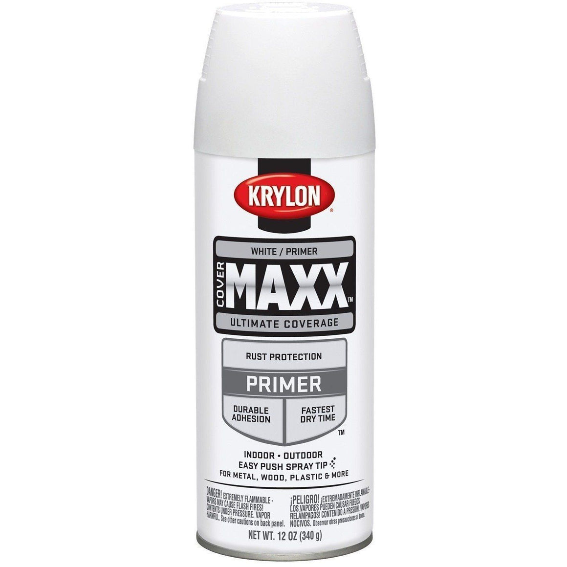 Krylon COVERMAXX Spray Paint, White Primer, 12oz K09188007