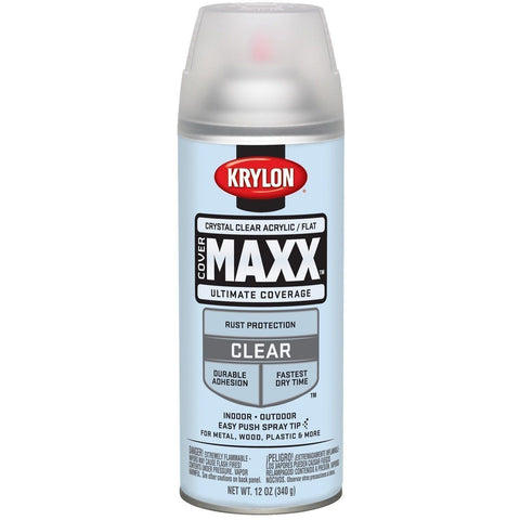 Krylon COVERMAXX Spray Paint, Flat Crystal Clear Acrylic, 11oz K09148007 - Wholesale Home Improvement Products