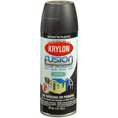 Krylon® Fusion For Plastic® Satin Black Spray Paint, 12oz K02421007 - Wholesale Home Improvement Products